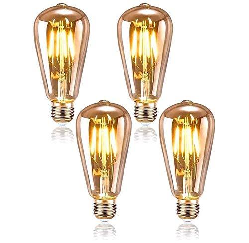 Queta Edison Glühbirne E27 4W Vintage Beleuchtung ST64 Retro Glühbirne Retro Lampe Ideal für Café Bar Restaurant Hochzeit Weihnachten Dekoration usw - 4 Stück