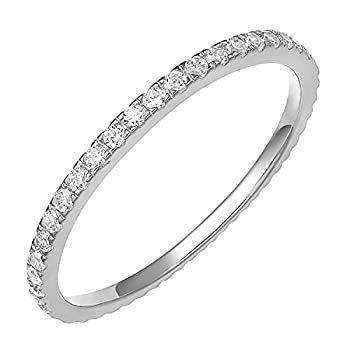 PAVOI AAAAA CZ Sterling Silver Cubic Zirconia Stackable Eternity Ring - Size 7