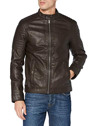 TOM TAILOR Herren Flasch-Leder Biker Jacke, 11022-Dark Chocolate Leath, M