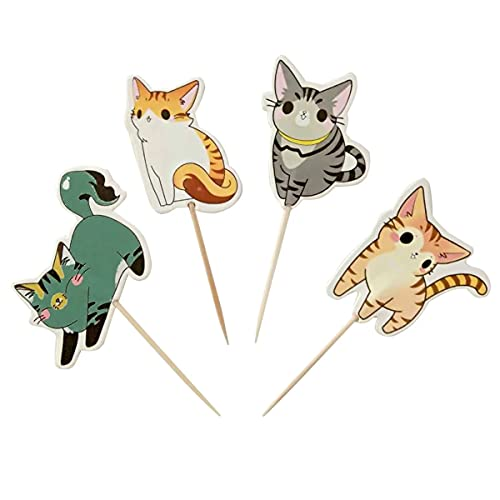 Decoración de cumpleaños para gato, niña, pastel, cumpleaños, gatitos, pequeños gatos, dulces, cupcakes, etc. (paquete de 24)
