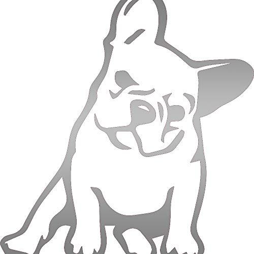 NBFU DECALS French Bulldog Kute (Metallic Silver) (Set of 2) Premium Waterproof Vinyl Decal Stickers for Laptop Phone Accessory Helmet Car Window Bumper Mug Tuber Cup Door Wall Decoration