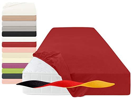 Feinbiber-Spannbetttuch aus 100% Baumwolle + Made in Germany 1037.1335, 100 x 200 cm, rot
