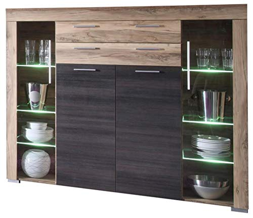 Newfurn Highboard Sideboard Natur Kommode Standschrank Hochschrank II 160x137x 40 cm (BxHxT) II [Alica.Four] in Nussbaum Satin/Nussbaum Satin Wohnzimmer Schlafzimmer Esszimmer