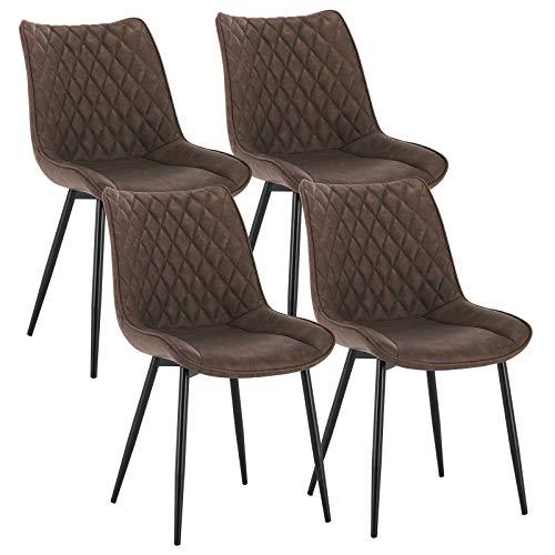 WOLTU 4 x Esszimmerstühle 4er Set Esszimmerstuhl Küchenstuhl Polsterstuhl Design Stuhl mit Rückenlehne, mit Sitzfläche aus Kunstleder, Gestell aus Metall, Antiklederoptik, Braun, BH210br-4