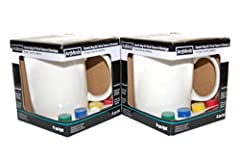 This bundle includes 2 ceramic mugs, 8 paint pods and 2 brushes. All you need to complete 2 painted mug projects.. Makes a great gift! Easy directions: Paint, Bake in oven for 30 minutes and when cool the project becomes permanent. Mugs are safe to u...