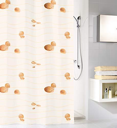 Kleine Wolke Miami Duschvorhang, 100prozent Polyester, Beige, 120x200 cm