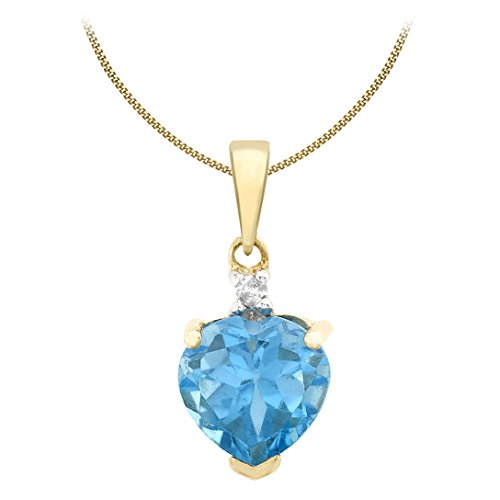 Carissima Gold Women's 9 ct Yellow Gold Heart Pendant with Blue Topaz and 0.32ct White Diamond on Curb Chain Necklace of Length 46 cm