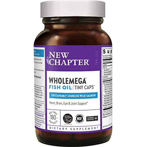 New Chapter Fish Oil Supplement - Wholemega Wild Alaskan Salmon Oil With Omega-3 + Vitamin D3 + astaxanthin + Sustainably Caught - 180 Ct Tiny Caps