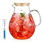 95 Ounce Large Glass Pitcher with Lid...