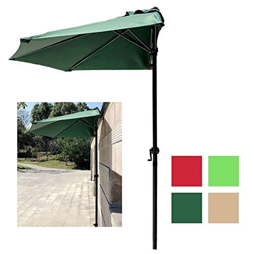 LXLA Sombrilla Jardin Sombrilla de Patio de 9 Pies / 2.7 M Sombrilla Exterior Semicircular con Manivela, Protección Solar para Ventana de Puerta de Balcón de Pared (Color : Dark Green)