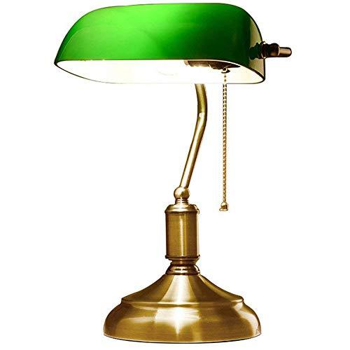 Lampe de Banquier - Verre Opaline - 38 CM - Chaînette