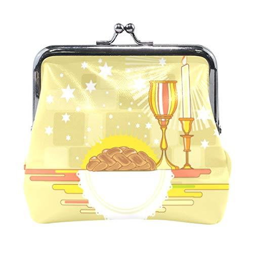 Happy Shabbat Challah Brot Geldbörse Münzgeldbörse Vintage Tasche Mode PU Leder Geld Kartenhalter für Frauen Mädchen Jungen Teenager Kinder