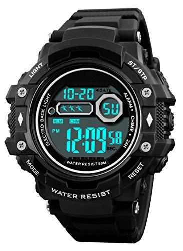 Reloj de Pulsera Digital para Hombres, Reloj Deportivo Militar Impermeable a Prueba de Agua 50M con 12/24 H/Alarma, Reloj de Pulsera Digital para Hombres Deporte al Aire Libre - Negro
