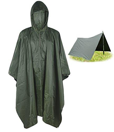 T WILKER 3in1 Rain Poncho Waterproof Camouflage Ripstop Rain Jacket Batwing-Sleeved Rain Coat with Hoods…