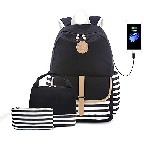 Lmeison Charging Backpacks for Girls, Waterproof Striped Bookbag with USB Charging Port, Canvas School Backpack Set with Lunch Bag Pencil Case for Women Travel Daypack Laptop Bag for 15.6' Laptop, Black