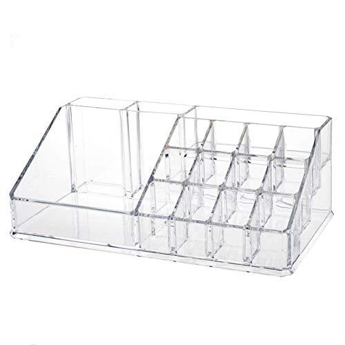 INOVERA (LABEL) Plastic 16 Compartment Cosmetic Makeup Lipstick Storage Organizer Box ,Transparent ( 21.2L x 12.5W x 7.8H)