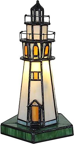Lámpara del Banquero Tower, lámpara de escritorio pequeña para niños con luz de noche de vitrales creativos vintage para dormitorio, iluminación nocturna de faro de vitrales hechos a mano