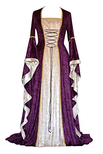 Vestito Medievale Donna Velluto Retro Swing Abito Manica a Campana Vestiti Carnevale Principessa Cosplay Costume Gotico Steampunk Maxi Abiti Rinascimentali Travestimento Strega Vampiro Diavolo Regina