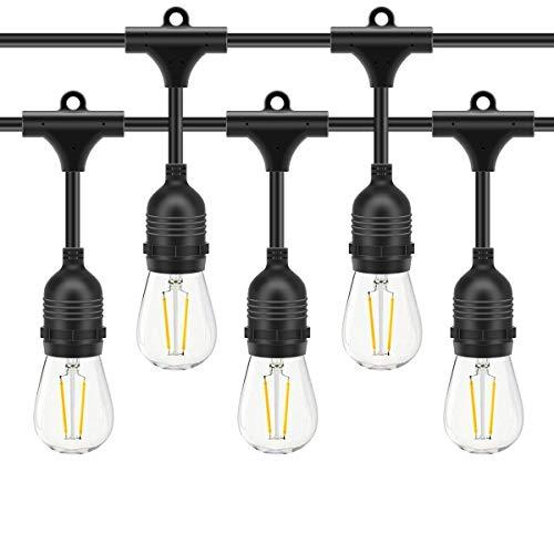 AFAITH - Cadena de luces LED para jardín al aire libre, 48 pies S14, impermeables, para interior / exterior, para bodas, patio, cafetería, jardín, Halloween, decoración de fiesta de Navidad
