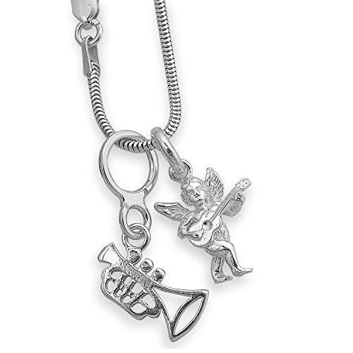 3 teilige 925 Silber Set 2 x Anhänger Engel Israfel - Engel mit Gitarre -und Trompete mit Schlangenkette + Geschenkbox #1373
