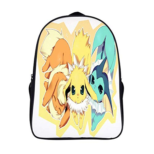 15.6 inches Backpack for poke-mon fans,Eevee Evolutions (2),Unisex School Bookbags, Cute Laptop Bag,waterproof Casual Travel Hiking Camping daypack for Boys Girls Kids