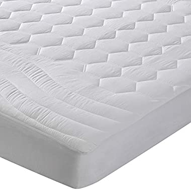 Bedsure Mattress Pad King Size Hypoallergenic - Antibacterial, Breathable - Ultra Soft Quilted Mattress Protector, Fitted Sheet Mattress Cover White