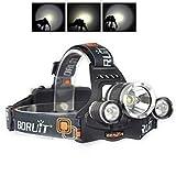 Boruit Lampes Frontales LED Puissante Rechargeable 6000 Lumen 3 x XM-L2 T6 LED Headlight Head Torch Headlamp pour Camping Pêche Cyclisme Course à pied Randonnée Chasse Vélo Plein air