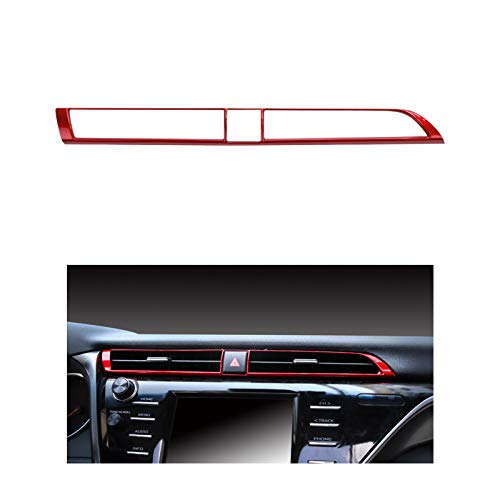 CKE ABS Central Air Vent Trim Center Dash Board Wind Outlet Decoration Cover Sticker Interior Accessories for Toyota Camry 2018 2019 2020 2021 -Red