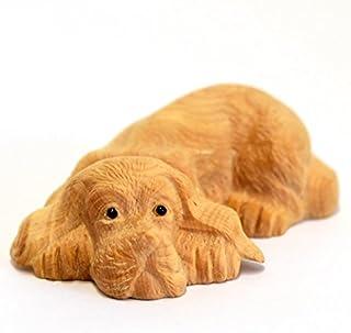 【お買得品】 木彫置物 動物【犬】 柘植(つげ) 干支・戌 かわいい 手平サイズ 幅約7.8㎝