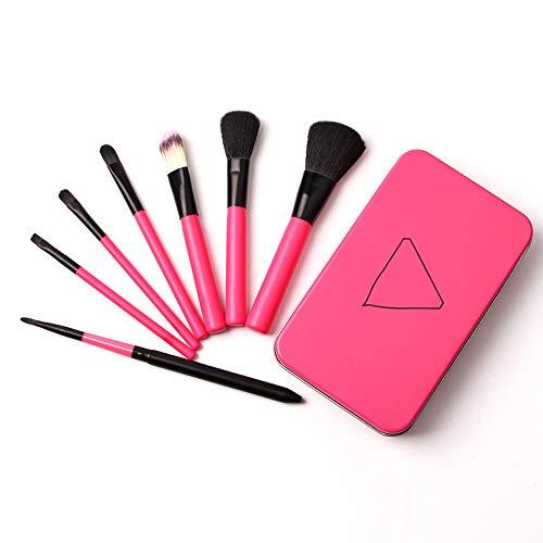 Pinceau de Maquillage Rose Rouge 7 Pinceau de Maquillage boîte de Fer Pinceau de Maquillage kit de Toilette Trousse de Toilette Brosse cosmétique avec boîte de Fer