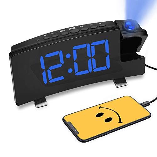 Radio Reloj Despertador con Proyector 180°,Reloj Digital Proyección de Pared / Techo,...