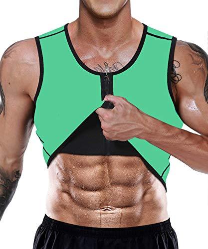 Ducomi Herren Fitness Shape Shirt Figur Formend Training Achselshirts Weste Sauna Schwitzeffekt Tank Top stark Formend Gym Bodyshape mit Reißverschluss (EU XL, Grün)