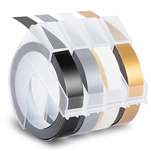 Invoker - 3D Etiquetas compatible para usar en lugar de Dymo 9mm Embossing, 3D Cinta de estampación for Dymo Omega S0717930 Junior Motex E101 E303 Estampadora,Blanco sobre Negro/Oro/Plata/Transparente