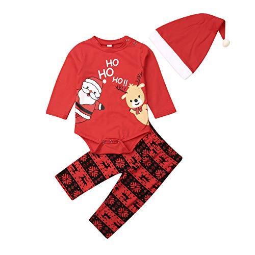 WANGSAURA Neugeborenes Xmas Baby Junge Mädchen Erste Weihnachten Hirsch Weihnachtsmann Strampler + Gestreifte Hosen 2pcs Outfits Set (Weihnachtsmann mit Hut #2, 0-6 Monate)
