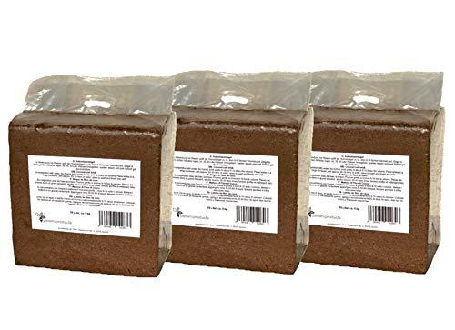 Kokosfaserziegel 3 x 70 Liter, gesamt: 210 Liter, ca. 5 kg je Ziegel, (EUR 0,17 je Liter/EUR 11,90 je Ziegel), Humusziegel, Kokosziegel, Kokoshumusziegel für Terrarien aus gepresster Kokosfaser