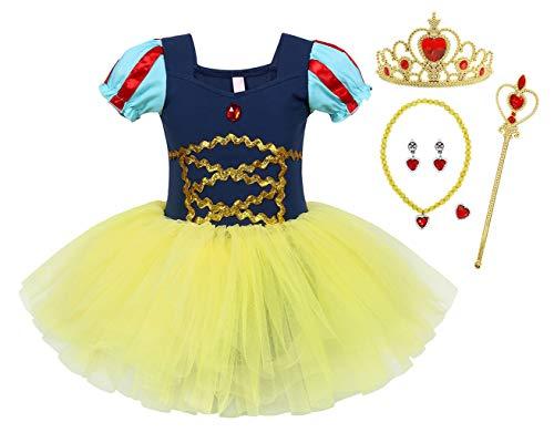 WonderBabe Vestido de tutu estilo tutu de manga curta para menina criança vestido de princesa Céu-100 (P054-Azul)