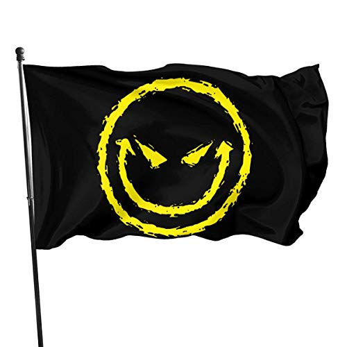 Eriesy Fahne/Flagge Evil Smiley Funny Faces Garden Flag Outdoor Flag Polyester Banner Flag with Grommets Outdoor Decorative Flag 3 X 5 Ft