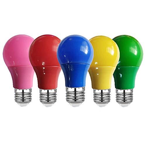 Bombilla LED de colores E27 Lámpara Led Bar Light 5W 7W 9W Lámpara Rojo Azul Verde Amarillo Rosa Lampara Light KTV Party Decoración para el hogar Iluminación Verde 5W E27 85-265V
