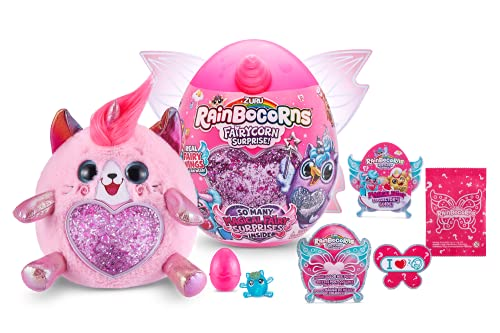 Rainbocorns Fairycorn Surprise Kitty - 11 Collectible Plush Stuffed Animal - Ultimate Surprise Egg, Wearable Fairy Wings, Unicorn Slime Mix, Sparkle Sequin Heart, Ages 3+ by ZURU
