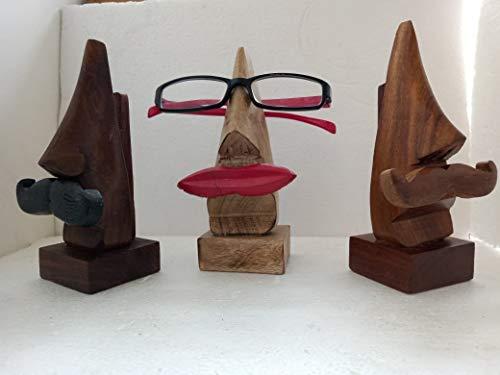 Metálico India hecho a mano nariz de madera en forma de especificaciones soporte de gafas con bigote marrón y negro para hombres y labios rojos para mujeres