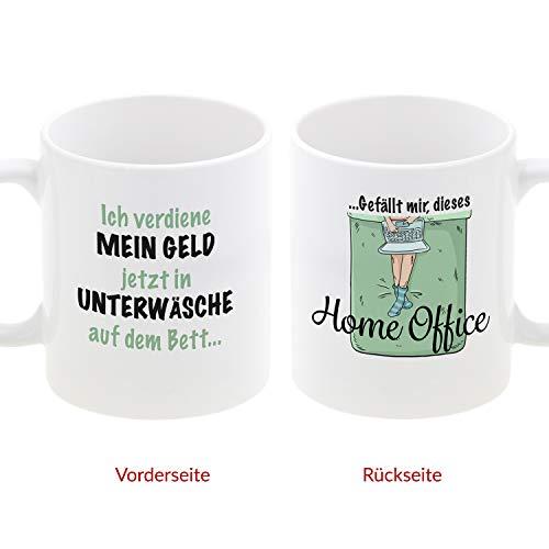 Tasse- Home Office (Unterwäsche): Kaffeetasse mit witzigen Sprüchen Bedruckt, Geschenkidee für Männer und Frauen - individueller Kaffeebecher für Kaffeeliebhaber im Homeoffice