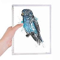 ブラックブルーのオウムの鳥 硬質プラスチックルーズリーフノートノート