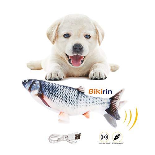 Bikirin Flopping Fisch Interaktives Spielzeug (Simulation Elektrischer Fisch für Hündchen mit USB Charge) Plüschtierfisch Hund Geschenk mit für Hunde zu Spielen und Treten