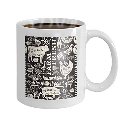 11 oz Coffee Mug Retro Styled Typographic Butchery bac Background Farm Animals Icons Butcher Shop Design Elements Charming Novelty Ceramic Gifts Tea Cup