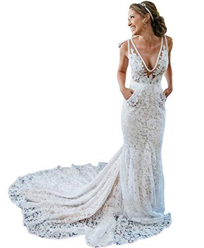 Tsbridal Bohemia Mermaid Wedding Dresses Lace Bridal Dresses Beach Garden Ivory Bridal Gowns with Pocket
