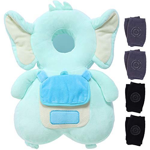 LOCOLO - Cojín de protección para la cabeza de bebé, protección para la cabeza de bebé, ajustable, para caminantes, protector de cabeza y hombros + 4 pares de rodilleras antideslizantes