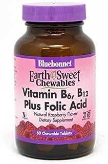 Bluebonnet Nutrition Earth Sweet Vitamin B6, B12, Plus Folic Acid Chewable Tablets, Vegan, Vegetarian, Gluten Free, Soy Free, Milk Free, Kosher, 60 Chewable Tablets, Raspberry Flavor