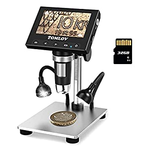 TOMLOV Coin Microscope 1000X with 4.3″ LCD Screen, LED Side Lights, Metal Stand, PC View, Photo/Video Digital Microscope for Kids Adults, Windows Compatible, 32GB SD Card Included