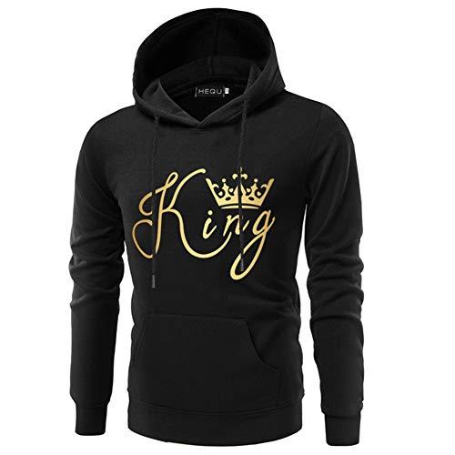 jiuyaomai Sweatshirt Maglione Coppia Manica Lunga con Cappuccio Stampa King Queen Uomo L