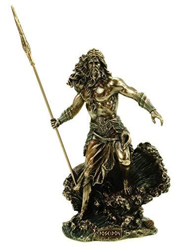 Veronese Figur Poseidon griechischer Gott des Meeres mit Dreizack bronziert 20 cm Figur Skulptur